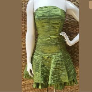 CACHE 4 Olive Green Crush Taffeta Strapless Dress